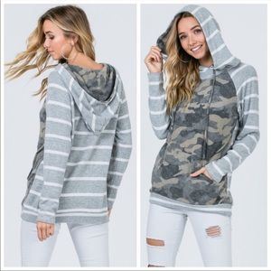Tops - Only 2 left ⭐️Ultra soft striped camo hoodie